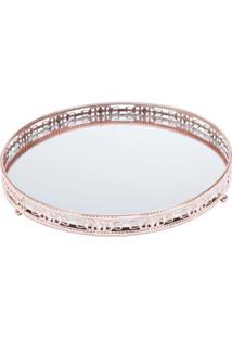 Bandeja Redonda Bronze Ferro Com Espelho - Cajamar/Rojemac - Incolor - Dafiti