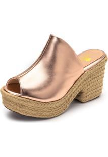 Sandália Salto Alto Rosê Metalizado Com Sisal - Kanui