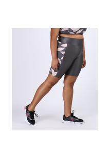 Bermuda Feminina Plus Size Esportiva Ace Cintura Alta Com Folhagem Chumbo
