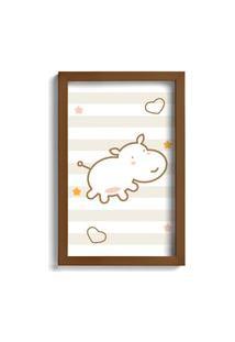 Quadro Infantil Quartinhos Hipopótamo Marrom 22X32Cm Moldura Marrom