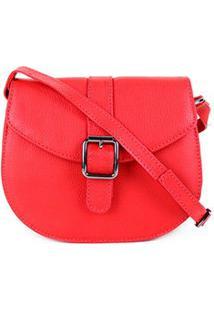Bolsa Couro Shoestock Saddle Feminina - Feminino-Vermelho