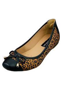 Sapatilha Bico Quadrado Love Shoes Confort Onçinha Laçinho Preto