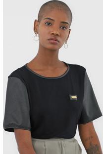 Camiseta Lança Perfume Recortes Preta - Kanui