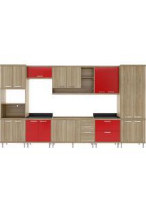 Cozinha Completa Com Balcão Sem Tampo 8 Peças 17 Portas Sicília Multimóveis Argila/Vermelho