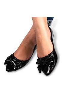 Sapatilha Feminina Sandália Rasteirinha Sapato Conforto Leve Preto Verniz Eleganteria