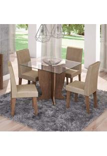 Conjunto De Mesa De Jantar Quadrada Luana Com 4 Cadeiras Milena Suede Caramelo E Marrocos