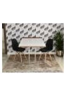 Conjunto De Mesa 1,40 Branco/Noronha Inox + 2 Cadeiras Botonê - Preta