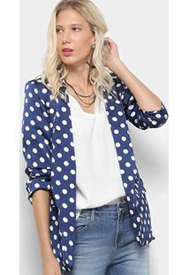 Blazer Lily Fashion Estampa Poá Feminino - Feminino-Marinho