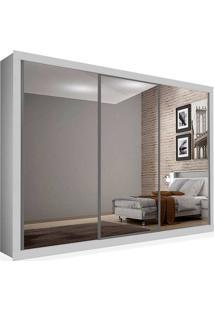 Armário 03 Portas De Correr 2,46 Espelho Total, Branco, Premium Plus Ii