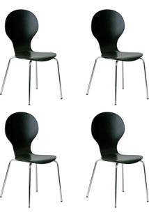 Conjunto Com 4 Cadeiras Formiga Preto