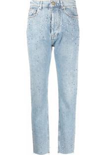 Alexandre Vauthier Calça Jeans Com Aplicação De Cristais - Azul