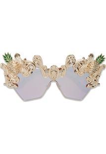 Dolce & Gabbana Eyewear Óculos De Sol 'Cat Eye Pineapple' - Metálico