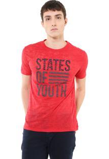 Camiseta Calvin Klein Jeans Devorê Estampa Vermelha