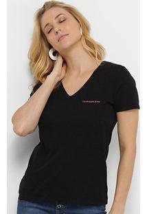 Blusa Calvin Klein Corte Em V Logo Feminina - Feminino-Preto