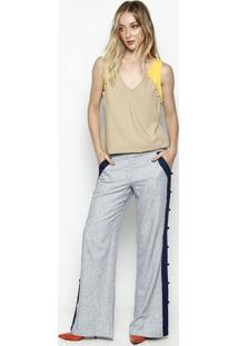 Blusa Em Piquê Com Botões- Bege & Amarela- Nemnem