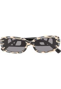 Valentino Eyewear Óculos De Sol Oval Vlogo - Preto