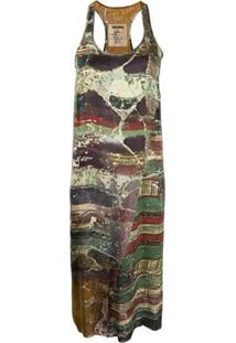 Uma Wang Vestido Regata Com Estampa Abstrata - Verde