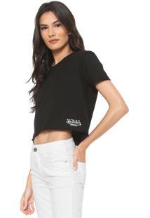 Camiseta Cropped Von Dutch Logo Preta