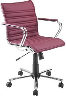 Cadeira Office Diretor Giratória Com Pistão A Gás Havenna Movelfar - Pvc Rubi Seda - Multistock