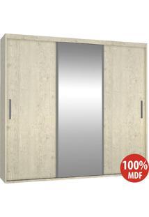 Guarda Roupa 3 Portas Com 1 Espelho 100% Mdf 1971E1 Marfim Areia - Foscarini