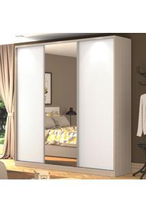 Guarda-Roupa Casal 3 Portas Correr 1 Espelho 100% Mdf Rc3003 Noce/Branco - Nova Mobile