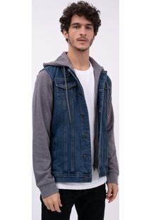 Jaqueta Jeans Com Mangas E Capuz Em Moletom