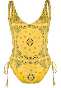 Sian Swimwear Maiô Sian Com Estampa Bandana - Amarelo