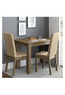 Conjunto Sala De Jantar Madesa Josi Mesa Tampo De Madeira Com 2 Cadeiras Rustic/Imperial