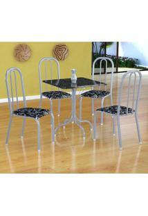 Conjunto De Mesa Malaga Com 4 Cadeiras Madri Branco Prata E Preto Floral
