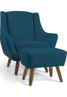 Poltrona Decorativa Com Puff Sala De Estar Pés De Madeira Naomi Algodão Azul Blazer - Gran Belo