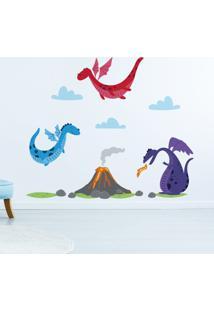 Adesivo De Parede Dragões E Vulcão Infantil 15Un