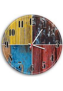 Relógio De Parede Decorativo Vintage Colorido Pátina 35Cm Médio
