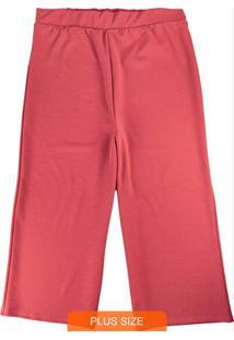 Calça Vermelha Pantacourt Com Lurex