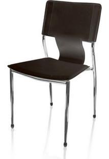 Cadeira Secretaria P-022F Marrom Base Fixa Cromada - 5560 - Sun House