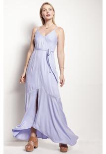 Vestido Longo Em Tecido De Viscose Com Fenda Frontal