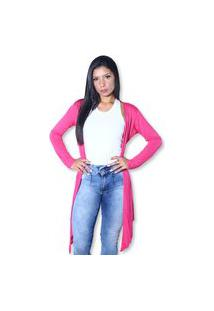 Cardigan Heide Ribeiro Alongado Soltinho Strass Super Leve Pink