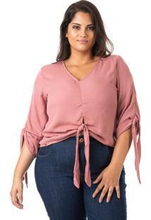 Blusa Plus Size - Confidencial Extra Crepe Com Laço Plus Size Rosa - Kanui