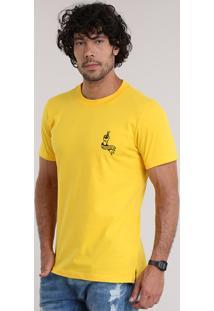 """Camiseta """"Get Lucky"""" Com Bordado Amarela"""