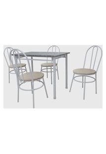 Conjunto Cozinha Munique Mesa 100Cm Granito C/ 04 Cadeiras Milla Branco Areia Açomix