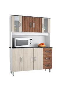 Armário De Cozinha Poliman Móveis Ravena 7 Portas E 3 Gavetas Branco/Rovere Liso/Amêndoa Liso