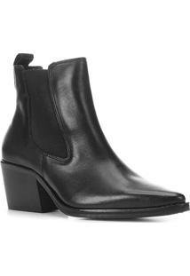 Bota Chelsea Shoestock Couro Cano Curto Feminina - Feminino-Preto