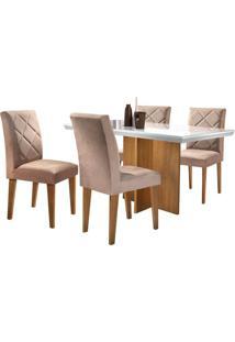 Sala De Jantar Berlim 1,20M Com 4 Cadeiras Imbuia/Off White Tecido Turim