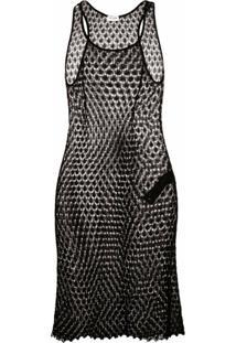Saint Laurent Short Macramé Dress - Preto