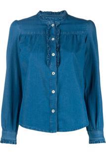 A.P.C. Blusa Jeans Mangas Longas - Azul