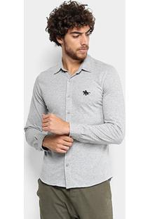 Camisa Manga Longa Rg 518 Ponto Bordado Masculina - Masculino-Grafite