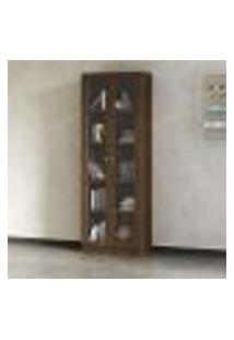 Armário Com 2 Portas Com Vidro 4 Prateleiras - Nogal