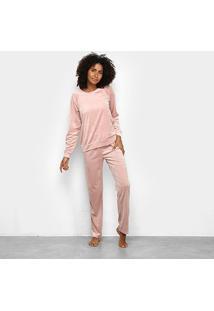 Pijama Longo Hering Básico Feminino - Feminino-Rosa Claro