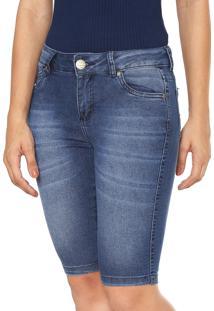 Bermuda Jeans Malwee Reta Estonada Azul