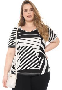 Blusa Cativa Plus Estampada Off-White/Preta