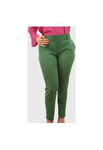 Calça Skinny Cinto Encapado Verde Bandeira